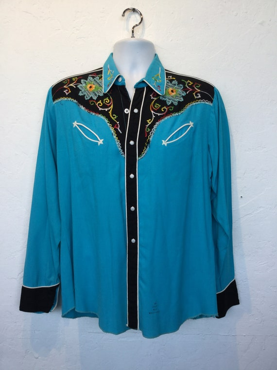 1950s vintage two tone embroidered western shirt. - image 2