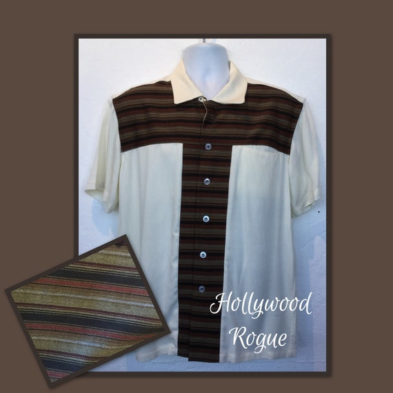 1950s vintage reproduction stripe T panel Hollywoo