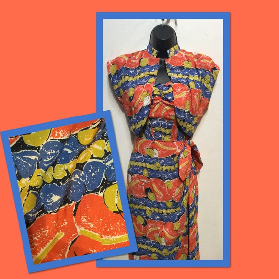 Vintage 1940s sarong with matching bolero by Parad