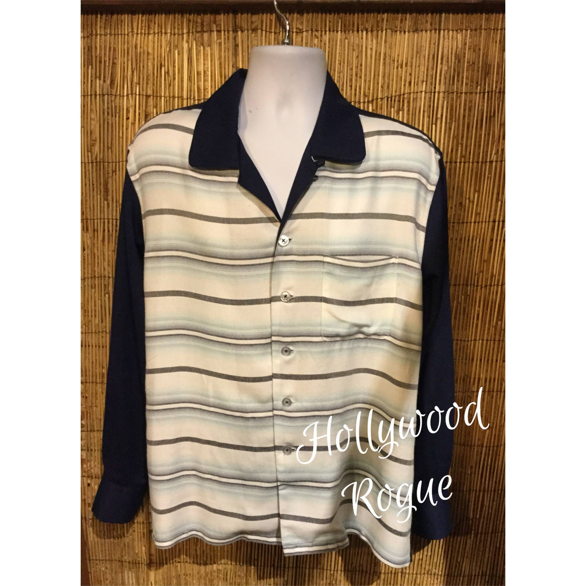 1950s Mens Hats | 50s Vintage Men's Hats 1950S Vintage Reproduction Hollywood Rogue Two Tone Stripe Shirt. Currently Available in Size Medium  Xl $30.00 AT vintagedancer.com