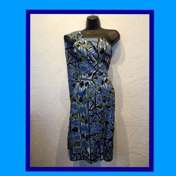 Vintage 1950s sarong dress with original throw