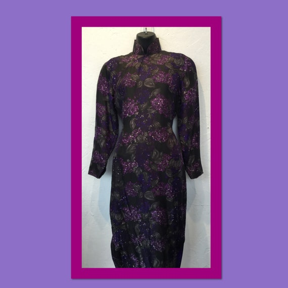 Vintage 1950s quilted Asian floral print dress