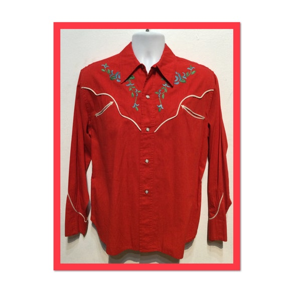 Vintage cotton embroidered western shirt