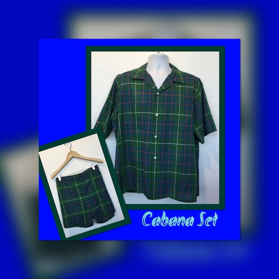 1950s vintage RARE ! plaid 2 piece cabana set by M