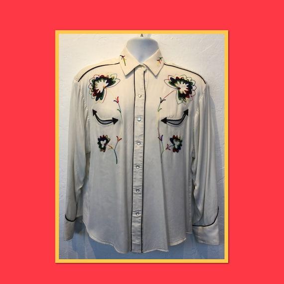 Vintage 1950s H-BAR-C western shirt. Size Large