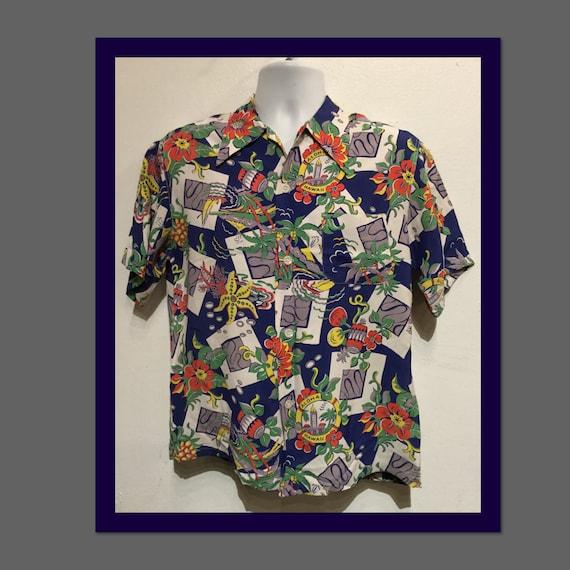 Vintage 1940s rayon Hawaiian shirt. Size medium