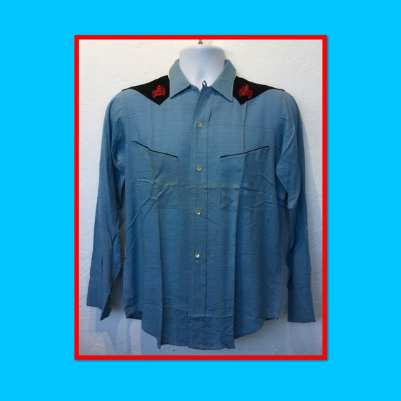 "1950s vintage ""dead stock"" two tone western shirt"