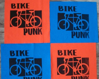 Hand Printed Bike Punk Back Patches Fourteen Colors Available Bicycle Cyclist