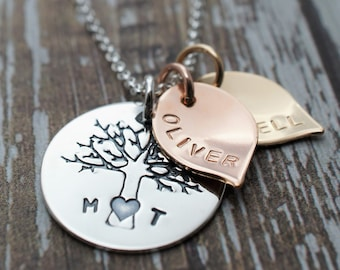 Mixed Metal Family Tree Necklace - Family of Four Oak Tree w/ Two Leaf Charms - Sterling Silver, Rose Gold Fill and Yellow Gold Fill