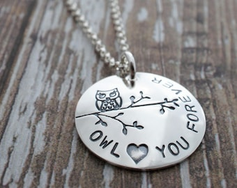 Owl Jewelry - Owl Love You Forever Necklace in Sterling Silver by Eclectic Wendy Designs