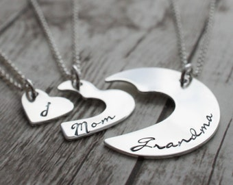 Personalized Three Generation Necklace Set in Sterling Silver - Grandmother, Daughter, Granddaughter Gift