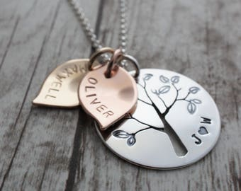 Mixed Metal Family Tree Necklace - Hand Pierced Design with Leaves, Initials, and Children's Names - Jewelry Gifts for Mom