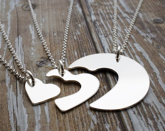 Grandmother, Daughter, Granddaughter Necklace Set - Hand Cut Heart Design in Sterling Silver - Three Generation Necklace
