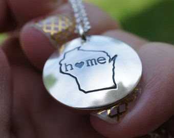 Homestate Jewelry - Wisconsin State Necklace - Home Is Where Your Heart Is Collection - Custom Home State Necklace by Eclectic Wendy Designs