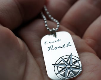 True North Dog Tag Necklace- Compass Rose Pendant in Sterling Silver - You are my True North -  Inspirational Gifts