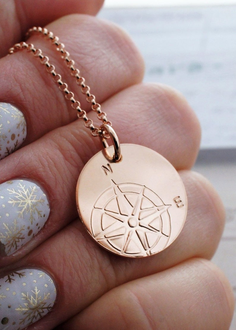 e8a26147a Rose Gold Filled Compass Necklace Compass Pendant in 14K | Etsy