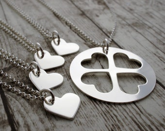 Mother Daughter Necklace Set in Sterling Silver - Four Daughter Jewelry Set - Sister Necklaces - Mother Daughter Jewelry EWDjewelry