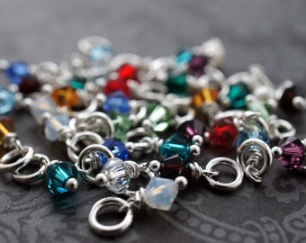 Swarovski Crystal Birthstone Charm in Sterling Silver or Gold Filled
