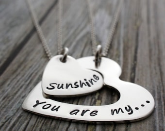You Are My Sunshine Heart Infinity Jewelry - Personalized Mother Daughter Necklace Set in Sterling Silver by EWD - Mother's Jewelry Gift