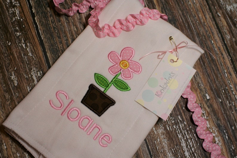 Pink Flower Burp Cloth Pink Flower Girl Baby Gift Monogram Burp Cloth Spring Burp Cloth Applique Burp Cloth Girl Burp Cloth