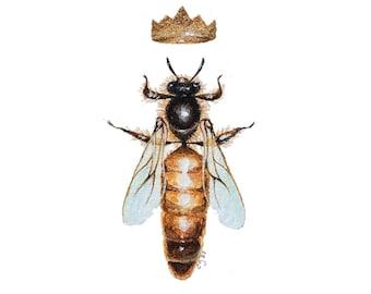 Miniature Watercolor Painting Queen Bee