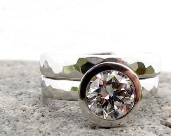 Ensemble de mariée platine et diamant, bague de fiançailles pour femmes avec bande de mariage assorti, grosse bague de mariage ensemble, GIA certifié diamant