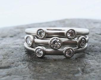 Stacking diamond and palladium rings, slender diamond stacking rings, delicate stacking diamond bands, palladium and Canadian diamonds