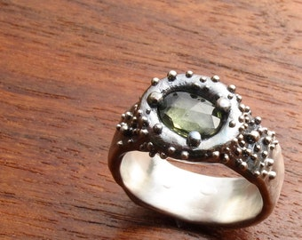 Wide band silver ring with green sapphire, oval rose cut sapphire and silver ring, granulated silver statement ring