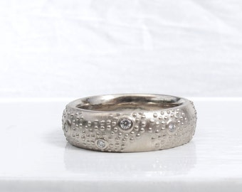 Recycled 14kt or 18kt white or yellow gold, wide gypsy set diamond wedding band, Aven's Ring