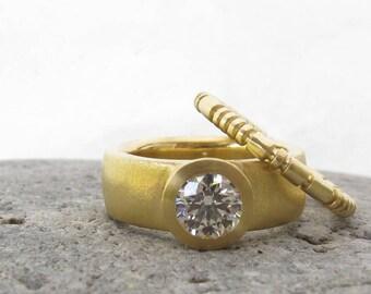 Sunken Treasure Ring, wide band engagement ring, 18kt diamond engagement ring, women's alternative wedding ring, GIA certified diamond