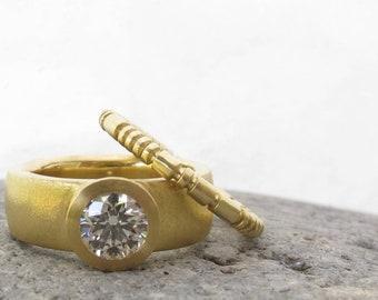 Unique wedding band, gold stacking ring, segmented gold or platinum wedding band