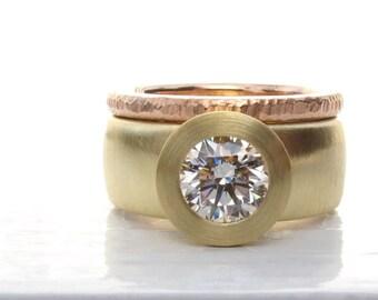 Sunken Treasure Ring, 18kt gold wide band diamond engagement wedding ring, women's alternative wedding ring, GIA certified diamond