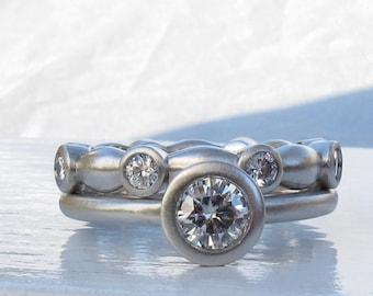 Diamond bezel wedding band with Canadian diamonds,  women's eternity ring, diamond eternity band, palladium diamond ring