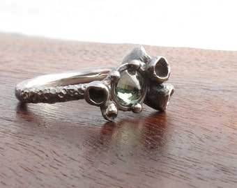 Green sapphire and sterling ring, one of a kind art jewelry ring, ocean inspired sapphire ring
