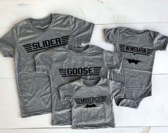 ba413aea3 Top Gun Matching Gray Triblend T-shirts. Choose Unisex Adult,Ladies,Youth,Toddler,Baby  bodysuit. Maverick and Goose and all the others too