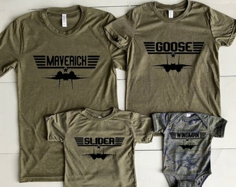 5ade2dcd Top Gun Matching Military Green Triblend T-shirts. Choose Unisex  Adult,Youth,Toddler,Baby Camo. Maverick and Goose and all the others too!