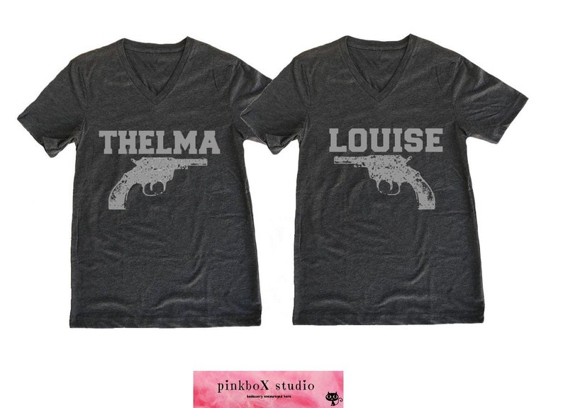 6aa1d5d3 Thelma and Louise. Unisex V neck Black Heather tri | Etsy