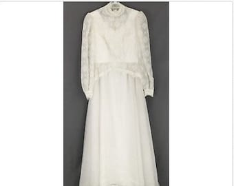 Vintage 60s 70s Wedding Gown Dress Handmade White Lace High Neck Long Sleeve XS