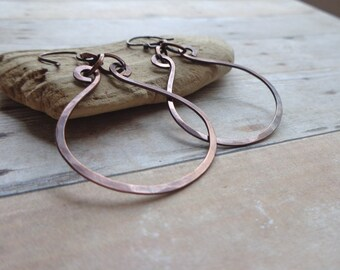 Organic Copper Earrings, Rustic Hammered Copper Earrings, Artisan Earrings, Earthy