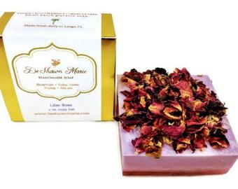 SOAP- Lilac Rose Soap, Handmade Soap, Vegan Soap, Soap Gift, Soap Favors, Natural Soap, Lilac Soap, Flower Soap, Floral Soap, Wedding Favors