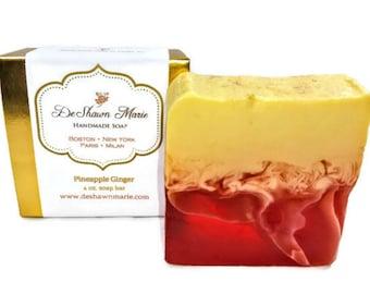 Pineapple Ginger Soap/Handmade Soap/Vegan Soap/Soap Gift/Mother's Day Gift/Soap Favors/Birthday Gift/Valentine's Gift/Tropical Soap