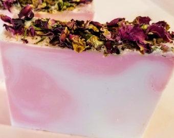 Rose Soap, Rose Petal Soap,Vegan Soap, Natural Soap, Glycerin Soap, Soap Bar, Soap Gift, Christmas Gift, Flower Soap, Soap Favors, Soap Sale