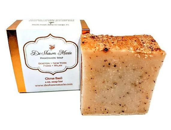 Citrus Basil Soap/Organic Soap/Natural Soap/Cold Process Soap/Vegan Soap/Olive Oil Soap/Christmas Gift/Soap Gift/Orange Soap/Herbal Soap