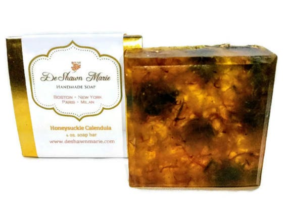 SOAP- Honeysuckle Calendula Soap- Handmade Soap - Vegan Soap - Glycerin Soap- Soap Gift -     Soap Sale  Christmas Clearance
