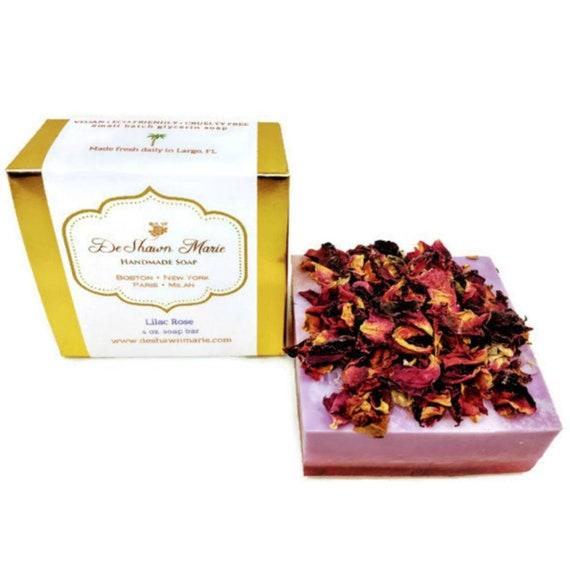 SOAP- Lilac Rose Soap Handmade Soap Vegan Soap Soap Gift Soap Favors Natural Soap Lilac Soap Flower Soap Floral Soap  Soap Sale
