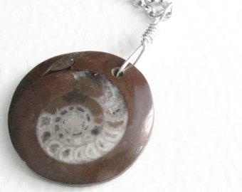 Genuine Ammonite Fossil Pendant, Prehistoric Cephalopod Nautilus Jewelry