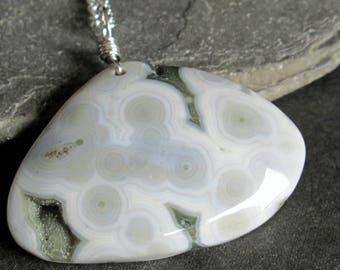 Green Ocean Jasper Necklace, Natural Stone Jewelry, Rock Hound Pendant