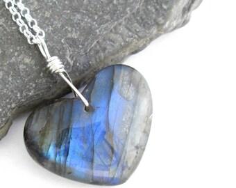 Blue Labradorite Heart Necklace: Semi-Precious Gemstone Pendant, Sterling Silver Chain, Valentine's Day Gift