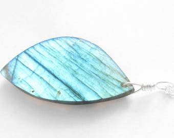 Large Blue Labradorite Necklace, Big Semi Precious Gem Stone Pendant, Sterling Silver Jewelry