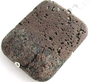 Brown Lava Necklace, Rock Basalt Pendant, Raw Natural Stone Jewelry, Diffuser Necklace
